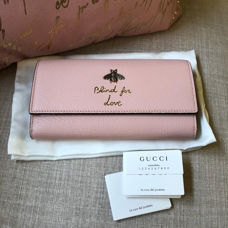 432c3a6b26c8 Gucci New Gucci Continental Animalier Bee Pink Wallet Image 9. 12345678910