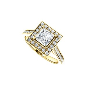 Marco B CZ Accented 14K Yellow Gold Square Halo Engagement Ring