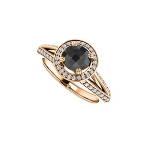 Marco B Black Onyx and CZ Halo Engagement Ring 14K Rose Gold