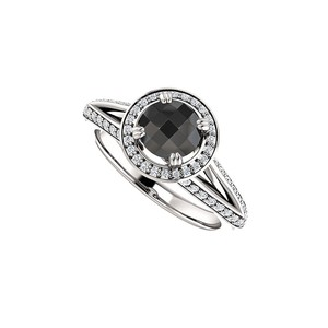 Marco B Black Onyx and CZ Halo Engagement Ring 14K White Gold