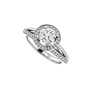 Marco B 14K White Gold Round CZ Halo Design Engagement Ring