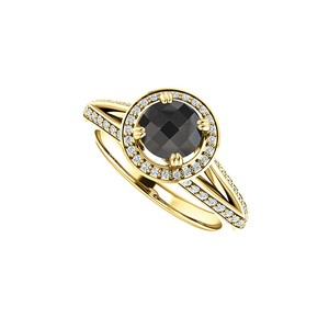 Marco B Black Onyx and CZ Halo Engagement Ring 14K Yellow Gold