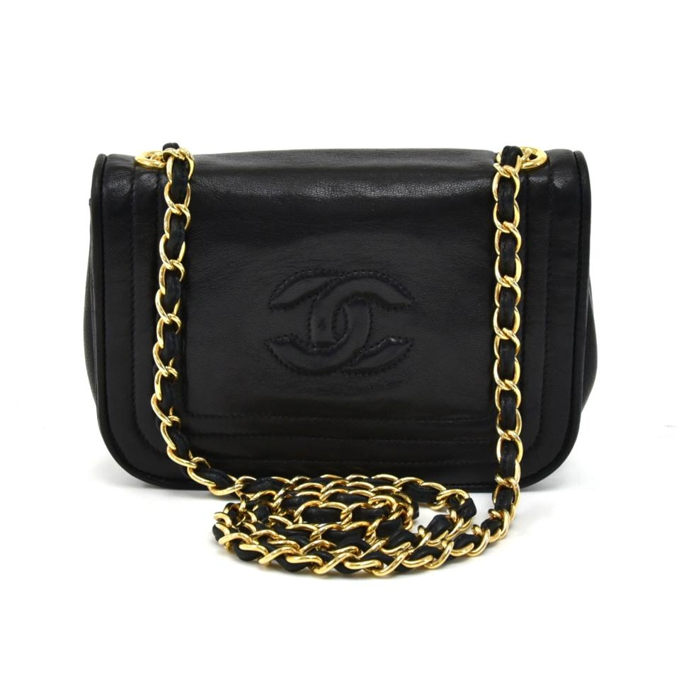 6eab406408616b Chanel Classic Flap Vintage Mini Cc Logo Black Lambskin Leather Shoulder Bag