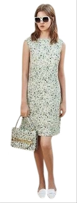 Item - White/ Green Jersey Valerie A Line Floral Crepe Mid-length Short Casual Dress Size 4 (S)