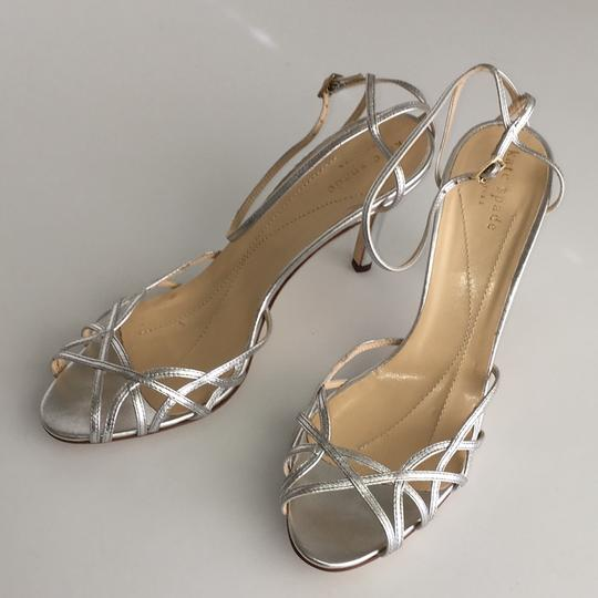 Kate Spade Strappy Pumps Silver Leather Sandals Image 1