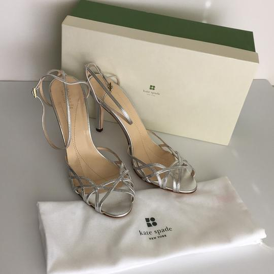 Kate Spade Strappy Pumps Silver Leather Sandals Image 10