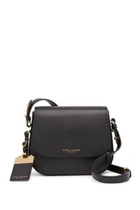 Marc Jacobs Magnetic Closure Slip Pockets Mini Rider Leather Luggage Tag Cross Body Bag
