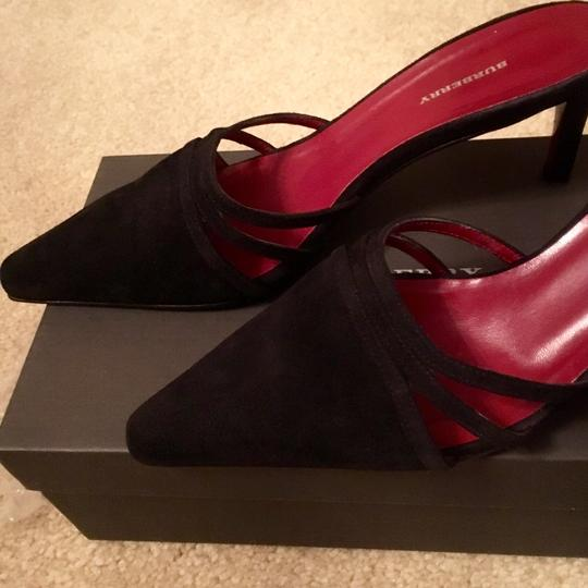 Burberry Black Suede Mules Image 1