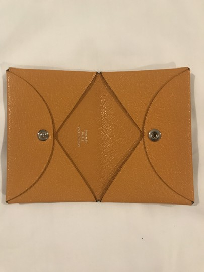 Hermès Hermes Mustard-gold Calvi Card Holder Image 3