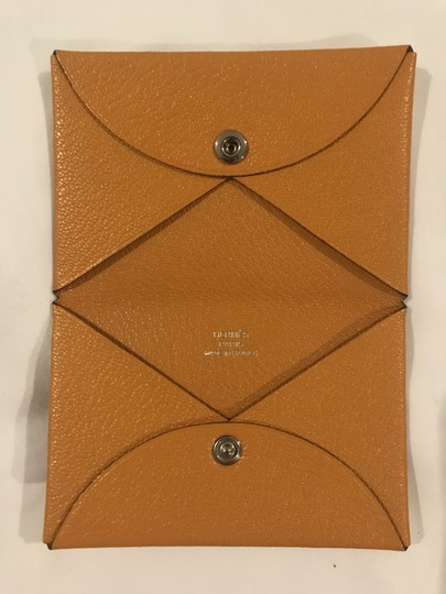 Hermès Hermes Mustard-gold Calvi Card Holder Image 5