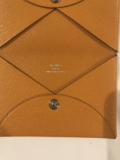 Hermès Hermes Mustard-gold Calvi Card Holder Image 6