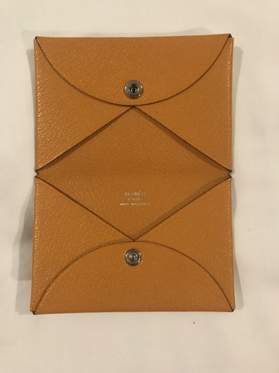Hermès Hermes Mustard-gold Calvi Card Holder Image 7
