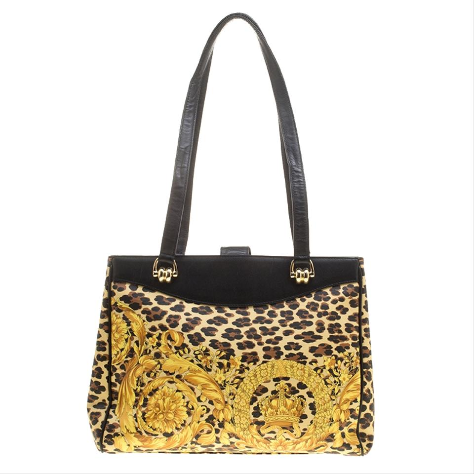 475d5b2a Versace Baroque Leopard Print Multicolor Leather Tote 68% off retail