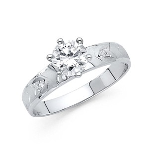 Top Gold & Diamond Jewelry 1-CT Satin Round-Cut 6-Prong CZ Wedding Ring in 14K White Gold