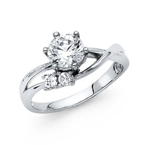 Top Gold & Diamond Jewelry 1-CT Split Shank Round-Cut Basket-Set CZ Engagement Ring in 14K White