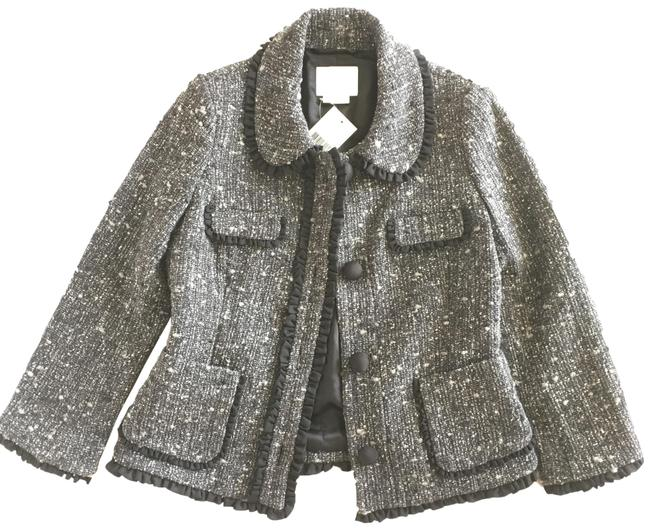 Item - Grey Tweed with Black Trim Jacket Blazer Size 4 (S)