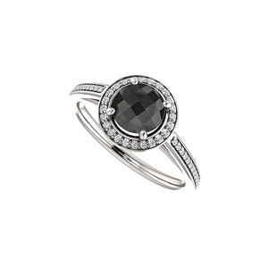 Marco B Black Onyx CZ Halo Engagement Ring in 14K White Gold