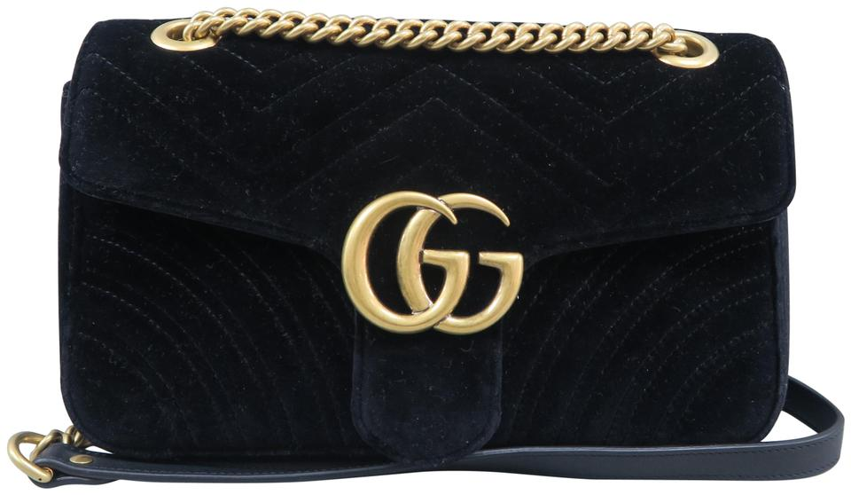 f629a9afc8df Gucci Marmont Small Gg Black Velvet Shoulder Bag - Tradesy