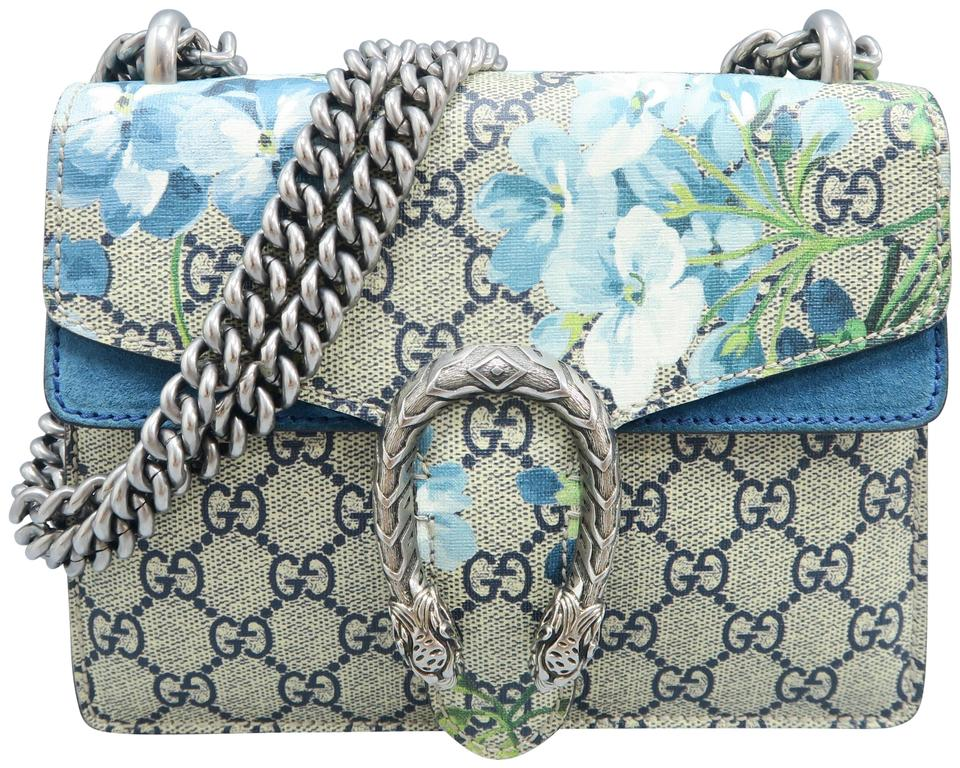 291758d14a3e Gucci Dionysus Gg Blooms Supreme Mini Navy &creme Canvas Shoulder ...