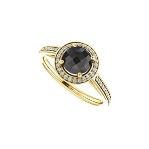 Marco B Black Onyx CZ Halo Engagement Ring in 14K Yellow Gold
