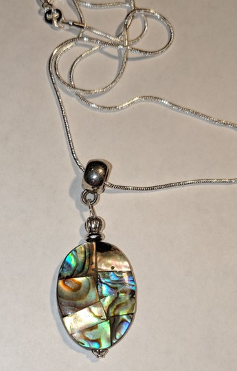 New New Abalone Shell Sterling Silver Pendant Necklace J3640 Image 1