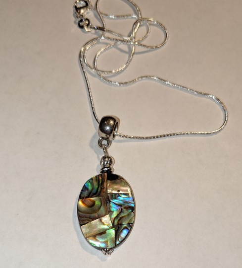 New New Abalone Shell Sterling Silver Pendant Necklace J3640 Image 3