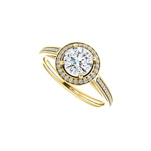 Marco B 14K Yellow Gold Round CZ Halo Design Engagement Ring