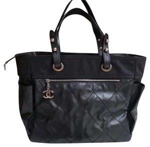 f195c85babb9ba Chanel Biarritz Large Black Canvas Tote - Tradesy