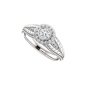 Marco B Cubic Zirconia Leaf Pattern Halo Ring 14K White Gold