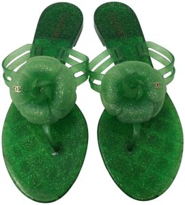 Chanel Jelly Glitter Interlocking Cc Camellia Gold Hardware Green Sandals
