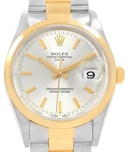Rolex Rolex Date Steel Yellow Gold Silver Dial Mens Watch 15203 Box Papers