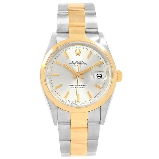 Rolex Rolex Date Steel Yellow Gold Silver Dial Mens Watch 15203 Box Papers Image 1