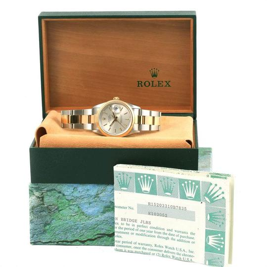 Rolex Rolex Date Steel Yellow Gold Silver Dial Mens Watch 15203 Box Papers Image 11