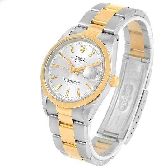 Rolex Rolex Date Steel Yellow Gold Silver Dial Mens Watch 15203 Box Papers Image 3