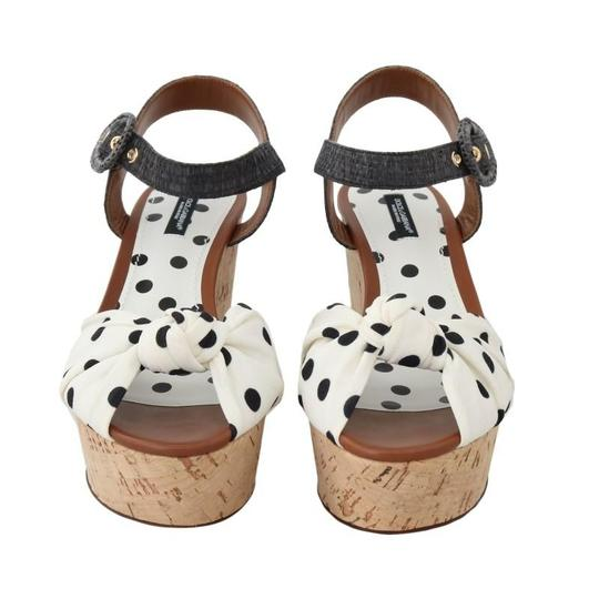 Dolce&Gabbana Polka Dot Wedges Black/White Sandals Image 3