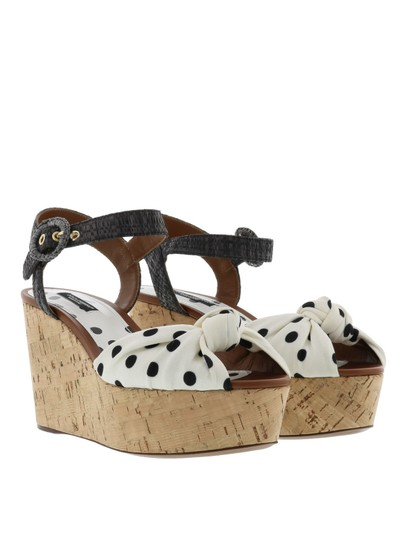 Dolce&Gabbana Polka Dot Wedges Black/White Sandals Image 4