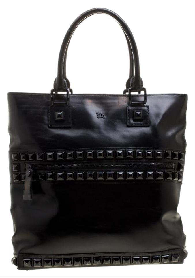 Burberry Glazed Studded Black Leather Tote - Tradesy