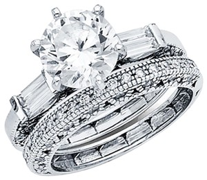 Top Gold & Diamond Jewelry 2.5CT Regal Knife-Edge Round & Side Baguette CZ Engagement Ring in 14K
