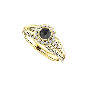 Marco B Black Onyx and CZ Leaf Pattern Halo Ring in 14K Gold