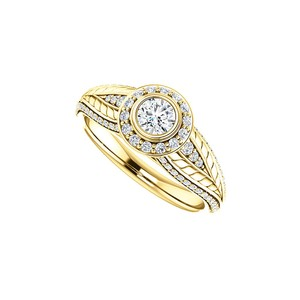 Marco B Cubic Zirconia Leaf Pattern Halo Ring 14K Yellow Gold