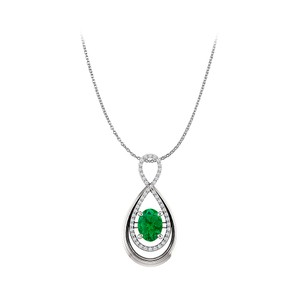 Marco B Prong Set Oval Emerald and CZ Infinity Style Pendant
