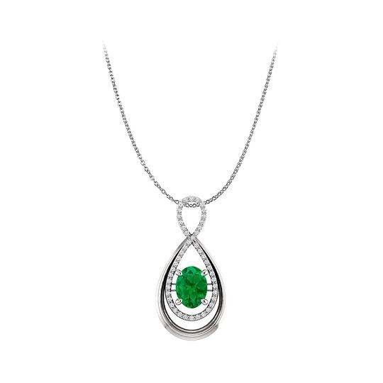 Preload https://img-static.tradesy.com/item/25140294/green-prong-set-oval-emerald-and-cz-infinity-style-pendant-necklace-0-0-540-540.jpg