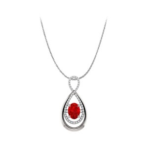 Marco B Oval Rub and CZ Infinity Style Pendant in White Gold