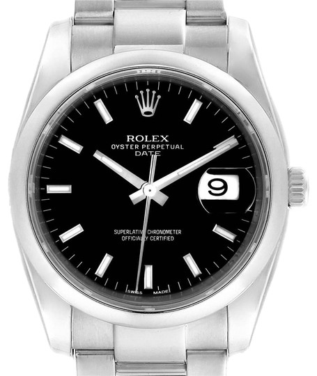 Preload https://img-static.tradesy.com/item/25140299/rolex-black-date-stainless-steel-baton-dial-mens-115200-watch-0-1-540-540.jpg