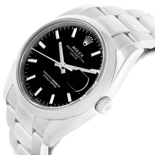 Rolex Rolex Date Stainless Steel Black Baton Dial Mens Watch 115200 Image 4
