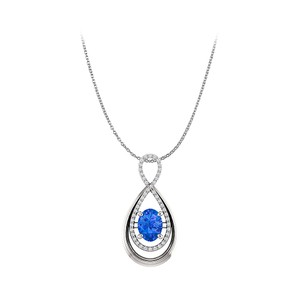 Marco B Sapphire and CZ Infinity Style Pendant in White Gold