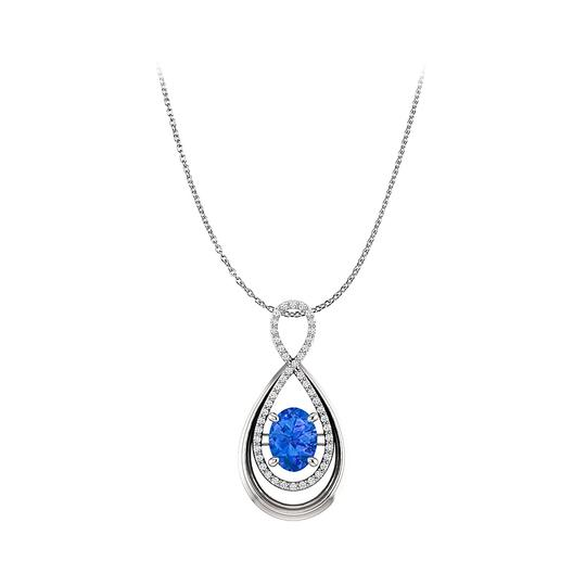 Preload https://img-static.tradesy.com/item/25140305/blue-sapphire-and-cz-infinity-style-pendant-in-white-gold-necklace-0-0-540-540.jpg