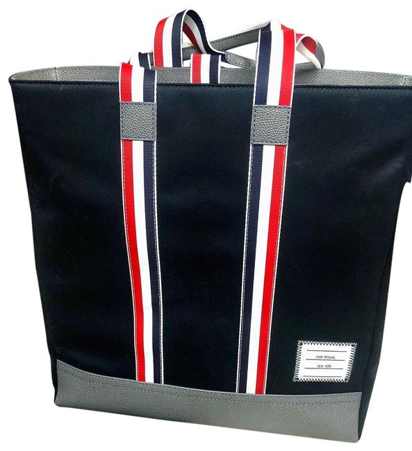 Item - Men's Unstructured Navy Cotton Twill + Pebble Grain Leather Tote