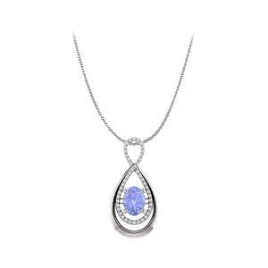 Marco B Tanzanite and CZ Infinity Style Pendant in 14K Gold