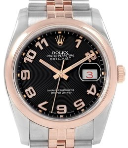 Rolex Rolex Datejust 36 Steel Rose Gold Black Dial Watch 116201 Box Papers